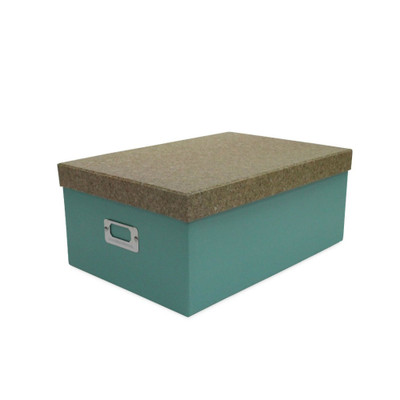 Howards Storage Box with Lid Small - Green/Cork