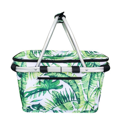 Sachi Insulated Carry Basket with Lid - Jungle Leaf