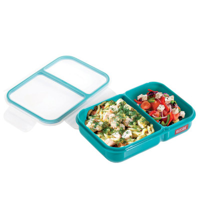 Russbe Inner Seal Bento Lunch Box Shallow 2 Compartment 680ml - Teal