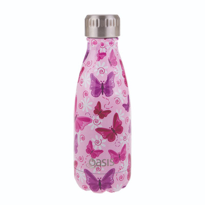 Oasis Insulated Stainless Steel Drink Bottle 350ml - Butterflies
