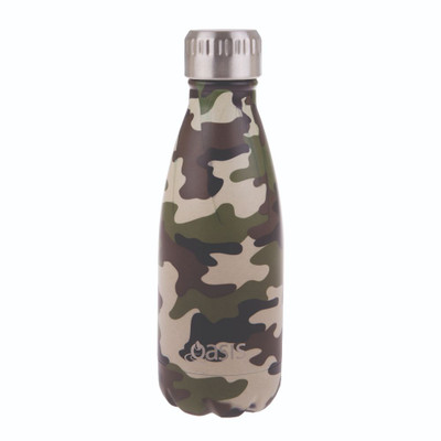 Oasis Insulated Stainless Steel Drink Bottle 350ml - Camo Green