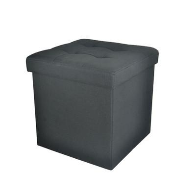 Foldable Storage Ottoman - Fabric Black