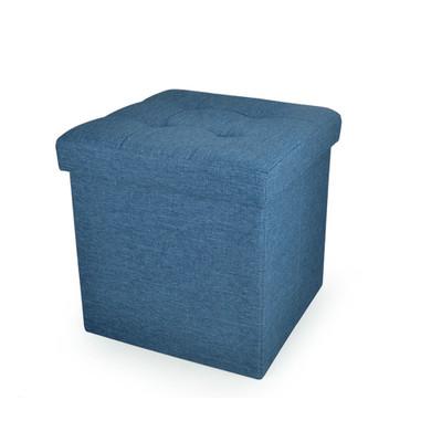 Foldable Storage Ottoman - Fabric Blue