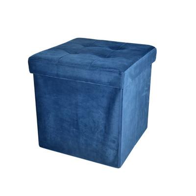 Foldable Storage Ottoman - Velvet Blue