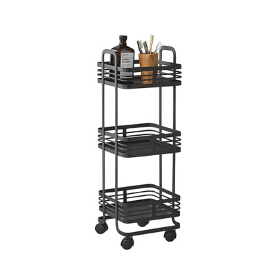 Howards 3 Tier Black Mesh Trolley - Square
