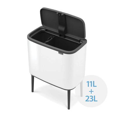 brabantia Bo Touch Bin Recycler 11L/23L, 2 Inner Buckets - White