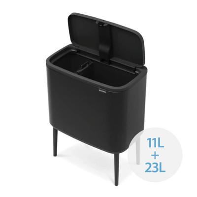 brabantia Bo Touch Bin Recycler 11L/23L, 2 Inner Buckets - Matt Black