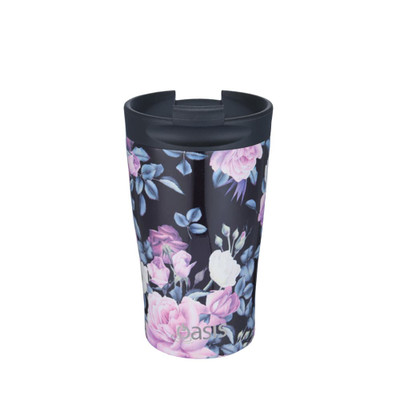 Oasis Stainless Steel Insulated Travel Cup 350ml - Midnight Floral