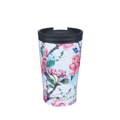 Oasis Stainless Steel Insulated Travel Cup 350ml - Blossom