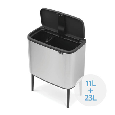 brabantia Bo Touch Bin Recycler 11L/23L, 2 Inner Buckets - Matt Steel Fingerprint Proof