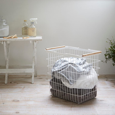 Laundry Basket with Handles - White