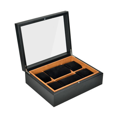 6 Compartment Watch Box - Black