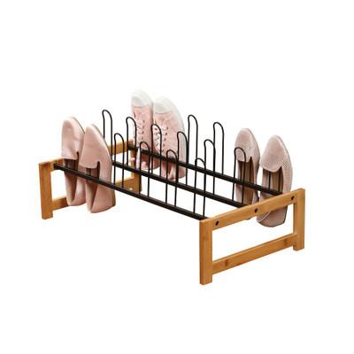 Bamboo & Wire Shoe Rack - Black