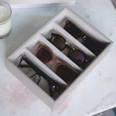 Stackers Classic Sunglasses & Jewellery Box Tray 4 Compartments - Taupe