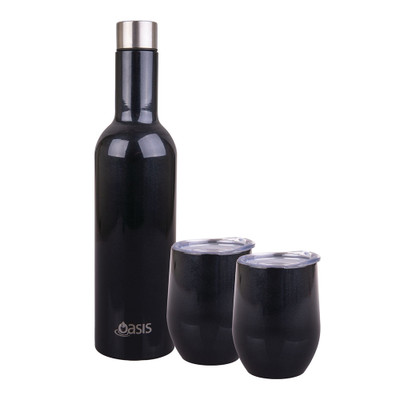Oasis 3 Piece Stainless Steel Insulated Wine & Cup Set