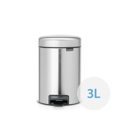 brabantia NewIcon Pedal Bin 3L Fingerprint Proof Matte Steel