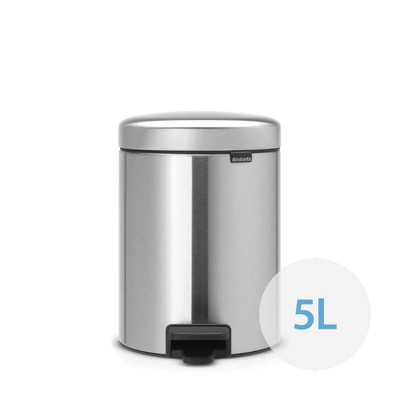brabantia NewIcon Pedal Bin 5L Fingerprint Proof Matte Steel