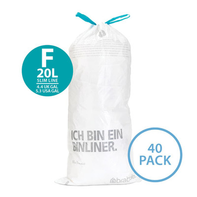 brabantia Smartfix Waste Bag 20L Slimline Dispenser Pack - 40 Pack - Size F