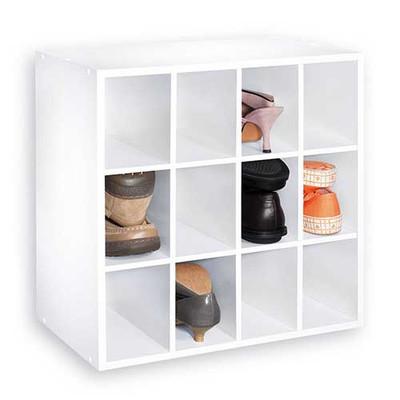 Multi-Purpose 12 Cube Shoe Shelf - White