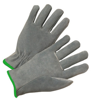 Radnor® Medium Split Cowhide Unlined Drivers Gloves With Straight Thumb, Slip-On Cuff, Green Hem And Shirred Elastic Back