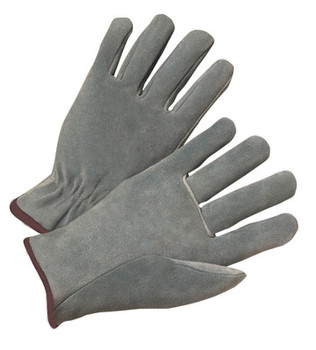 Radnor® Large Split Cowhide Unlined Drivers Gloves With Straight Thumb, Slip-On Cuff, Brown Hem And Shirred Elastic Back