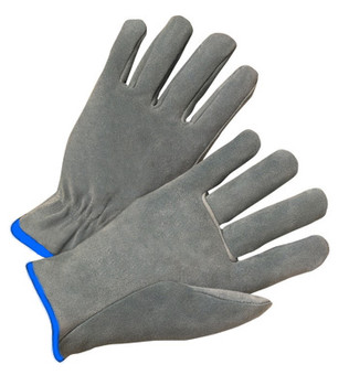 Radnor® X-Large Split Cowhide Unlined Drivers Gloves With Straight Thumb, Slip-On Cuff, Blue Hem And Shirred Elastic Back