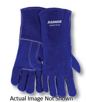 """Radnor® Large Blue 14"""" Shoulder Split Cowhide Cotton/Foam Lined Insulated Left Hand Welders Glove With Reinforced, Wing Thumb, Welted Fingers And Kevlar® Stitching (Carded)"""