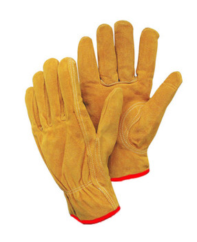 Radnor® Small Leather Unlined Drivers Gloves With Keystone Thumb, Slip-On Cuff, Red Hem And Shirred Elastic Back