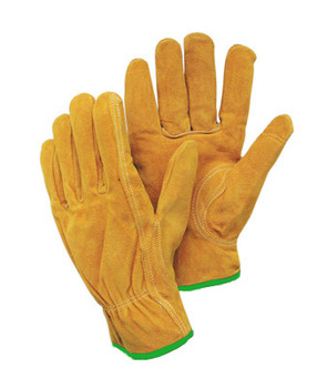 Radnor® Medium Leather Unlined Drivers Gloves With Keystone Thumb, Slip-On Cuff, Green Hem And Shirred Elastic Back