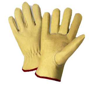 Radnor® Small Grain Pigskin Unlined Gunn Cut Drivers Gloves With Straight Thumb, Slip-On Cuff, Red Hem And Shirred Elastic Back