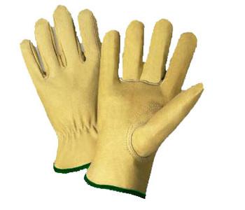 Radnor® Medium Grain Pigskin Unlined Gunn Cut Drivers Gloves With Straight Thumb, Slip-On Cuff, Green Hem And Shirred Elastic Back
