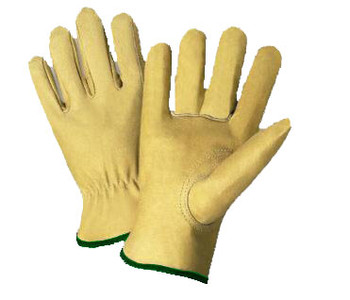 Radnor® Medium Grain Pigskin Unlined Gunn Cut Drivers Gloves With Straight Thumb, Slip-On Cuff, Green Hem And Shirred Elastic Back