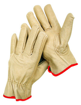 Radnor® Small Grain Pigskin Unlined Drivers Gloves With Keystone Thumb, Slip-On Cuff, Red Hem And Shirred Elastic Back
