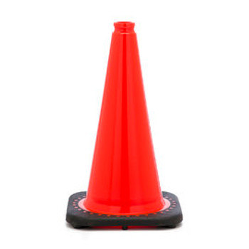 "18"" Orange Traffic Cone With Black Base PVC Revolution Series 1-Piece"