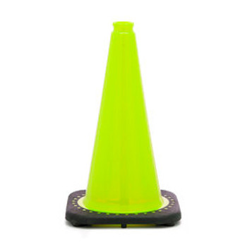 "18"" Lime Traffic Cone With Black Base PVC Revolution Series 1-Piece"