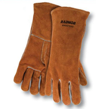 """Radnor® Large Bourbon Brown 14"""" Select Shoulder Split Cowhide Cotton Lined Welders Gloves With Reinforced, Straight Thumb"""