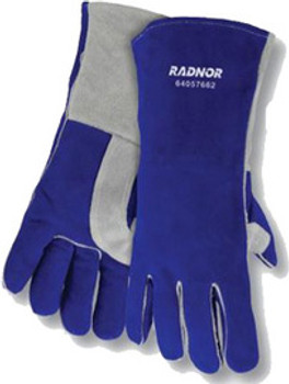"Radnor® Large Blue 14"" Premium Side Split Cowhide Cotton/Foam Lined Insulated Welders Gloves With Double Reinforced, Wing Thumb"