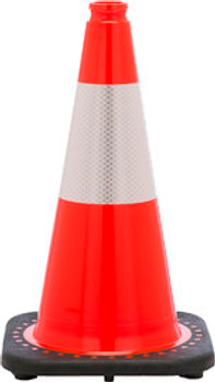 "18"" Orange Traffic Cone With Black Base And 6"" 3M Reflective Collar PVC Revolution Series 1-Piece"