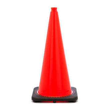 "28"" Orange Traffic Cone With Black Base PVC Revolution Series 1-Piece"