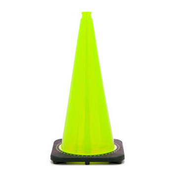 "28"" Lime PVC Revolution Series 1-Piece Traffic Cone With Black Base"