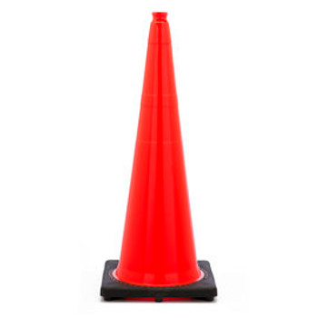 "36"" Orange Traffic Cone With Black Base PVC Revolution Series 1-Piece"