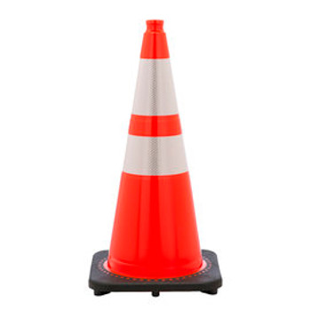 """28"""" Orange PVC Revolution Series 1-Piece Traffic Cone With Black Base And 4"""" And 6"""" 3M Reflective Collar"""