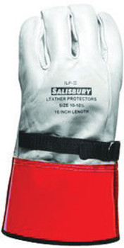 """SALISBURY By Honeywell Size 10 Yellow 12"""" ILP Series Top Grain Cowhide High Voltage Linesmen's Glove Protector With Straight Cuff, Leather On Palm Side And Orange Vinyl On Back"""