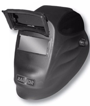 "Radnor® Black 24PF Lift Front Welding Helmet With 2"" X 4 1/4"" Shade 10 Passive Lens"
