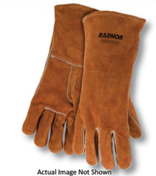 """Radnor® Large Brown 14"""" Select Shoulder Split Cowhide Cotton Lined Left Hand Welders Glove With Straight/Reinforced Thumb, Welted Fingers And Kevlar® Stitching (Carded)"""