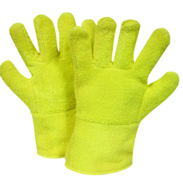 Yellow Regular National Safety Apparel G44RTRF12 Reversed Kevlar Terry Glove with Twill Cuff