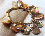 Keva Brass and Shell  Bracelet