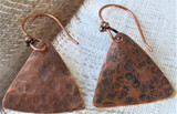 Hammered Copper Drop Triangular Earrings