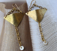 Hammered Brass Chain Earrings