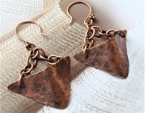 Chained Hammered Copper Drop Earrings